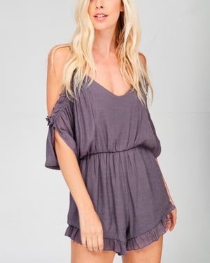 Crinkled Peek-a-Boo Shoulder Romper with Ruffle Hem - More Colors