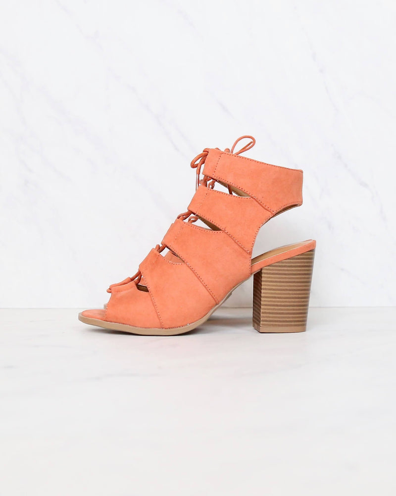 peekaboo cut out heels - ash coral