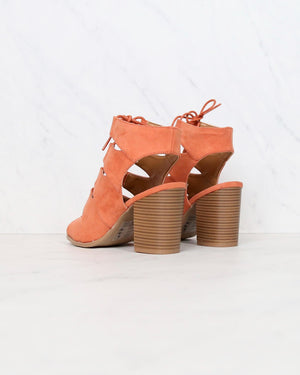 Peekaboo Cut Out Heels in Ash Coral