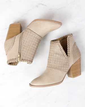 Perforated Chunky Heeled Booties in Burnish Taupe PU