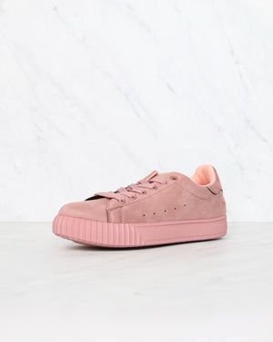 Suede Low Top Lace Up Sneakers in Mauve