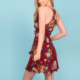 eden floral ruffle wrap mini dress