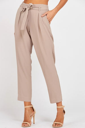 pleated belted bow crepe pants with pockets - mauve