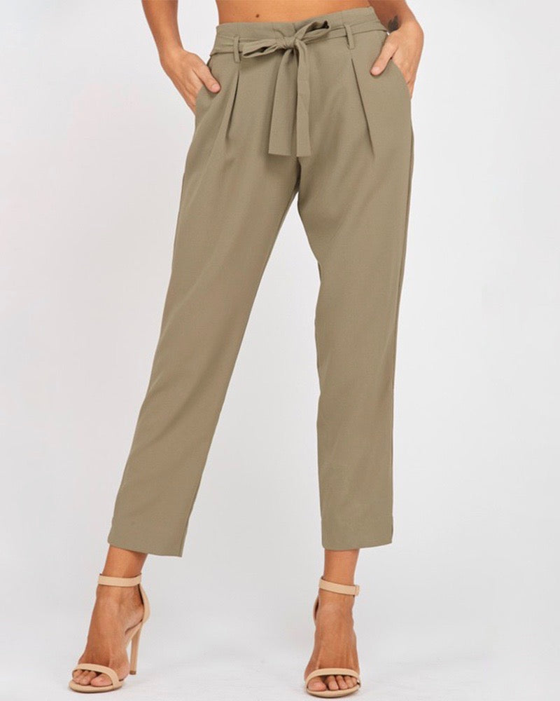 Pleated Belted Bow Crepe Pants with Pockets in Olive