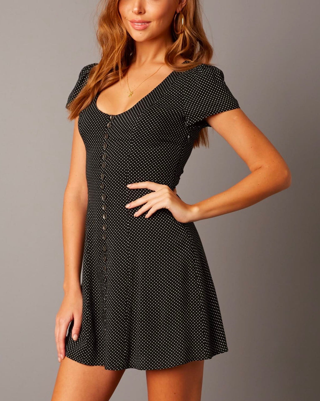 Cotton Candy LA - The Only One Polka Dot Princess Seam Button Down Dress in Black