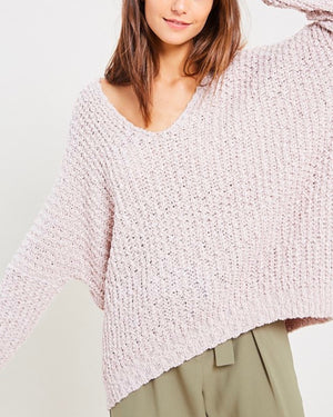 Popcorn Textured V-neck Knit Sweater Pullover in Twig