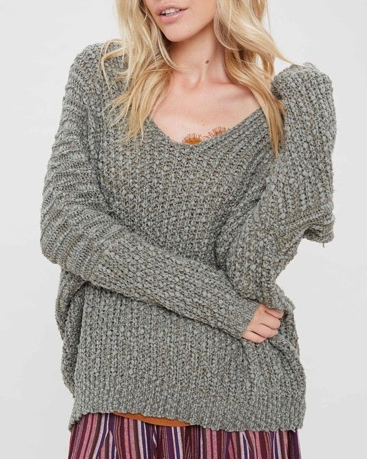 Popcorn Textured V-neck Knit Sweater Pullover in Olive