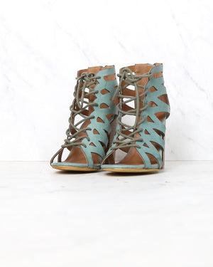 lace-up cutout stacked heel sandal - more colors