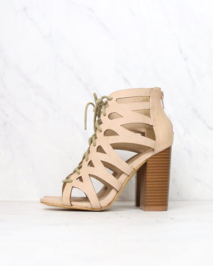 Lace Up Cut Out Stacked Heel Sandal in More Colors