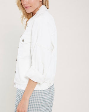 Premium Wash Cotton Denim Jacket in White