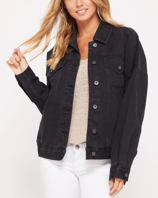 premium wash cotton denim jacket - black