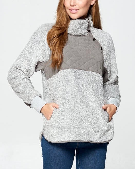 Quilted Soft Faux Shearing Pullover with Asymmetrical Snap-up Front Neckline in Heather Grey