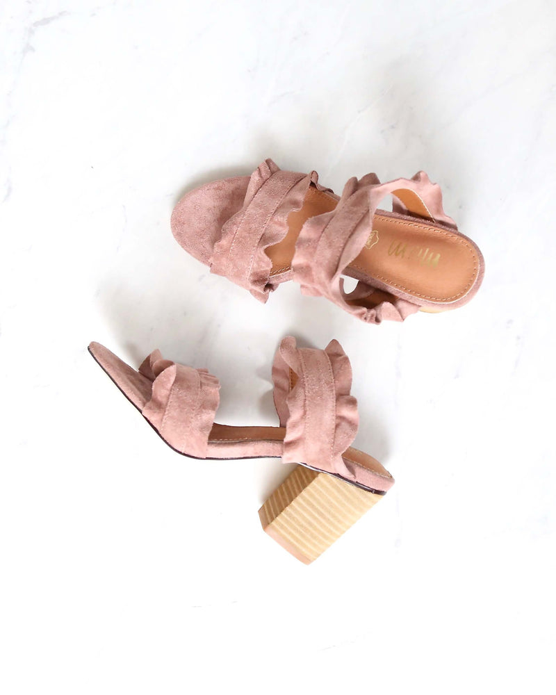 Miracle Miles - Rachel Casual Ruffle Wooden Block Heel in Rose