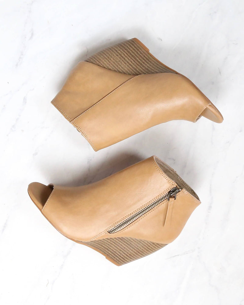 BC Footwear Rebellion Peep Toe Wedge Heel Booties in Taupe