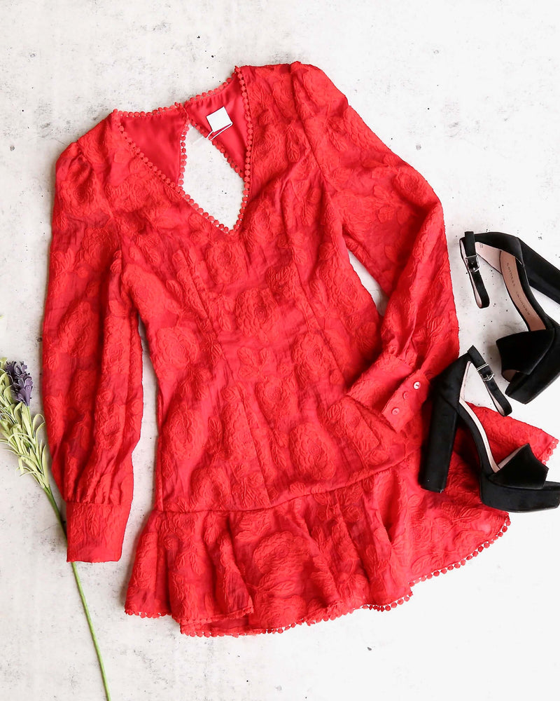 Red Hot Floral Lace Crochet Puff Long Sleeve Backless Mini Dress with Ruffle Hem in Red