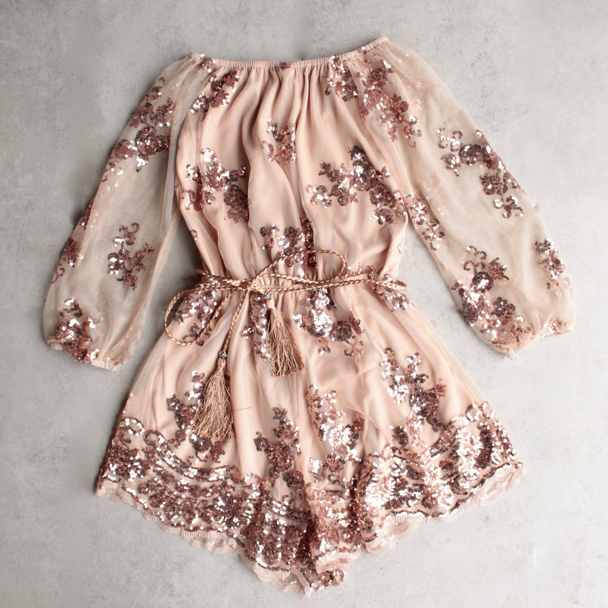 0314cd4b233f reverse - life of the party strapless sequin romper - rose gold -  shophearts - 7
