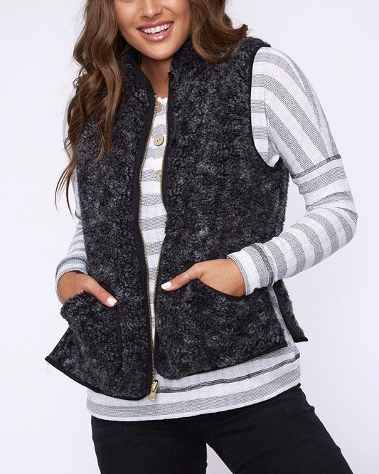 Reversible Sherpa Fleece Lined Quilted Puffer Vest - Black/Charcoal