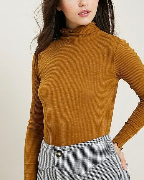 Long Sleeve Ribbed Mock Neck Knit Top in Mustard