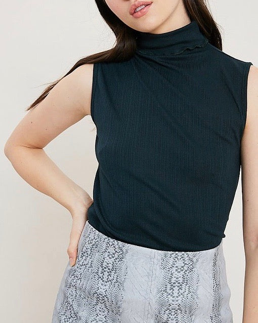 Sleeveless Ribbed Turtleneck Knit Top in Dark Forest Green