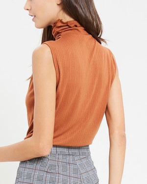 Sleeveless Ribbed Turtleneck Knit Top in Gucci Tan