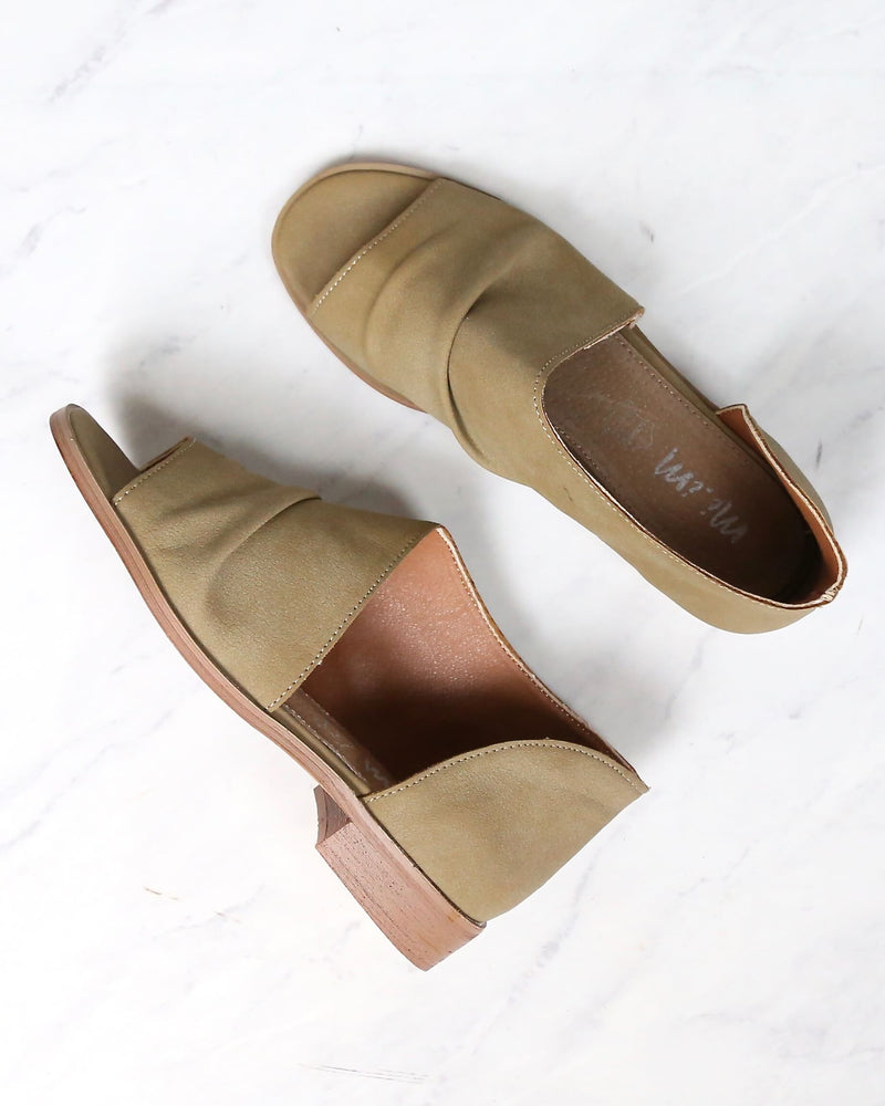 miracle miles - riley asymmetrical flat - khaki