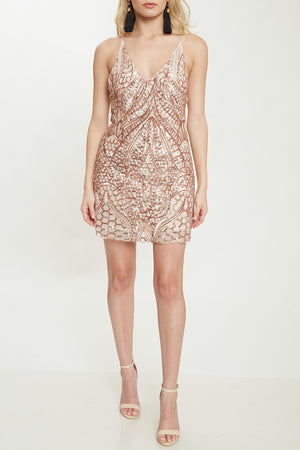 open back sequin mini dress - rose gold