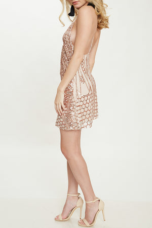 Open Back Sequin Mini Dress in Rose Gold
