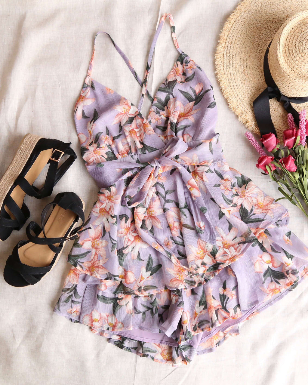 Ruffled Floral Chiffon Romper in Purple Multi