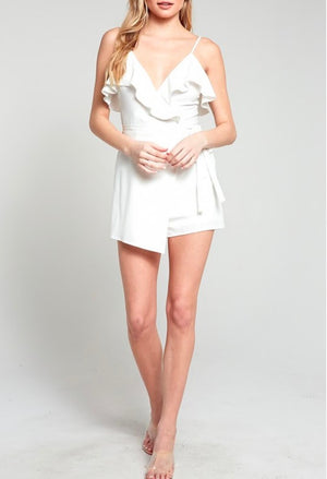 In My Feelings Ruffled Wrapped Sleeveless Romper in Ivory