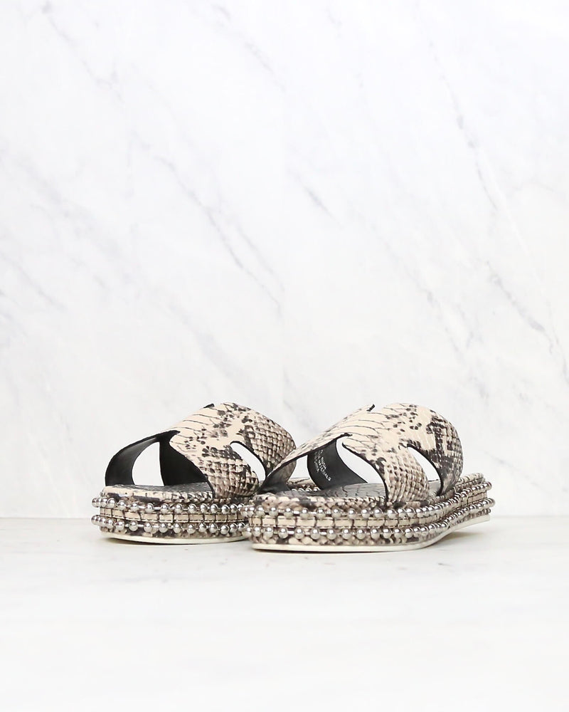 Snake Print H-Band Open Toe Slip On Sandals