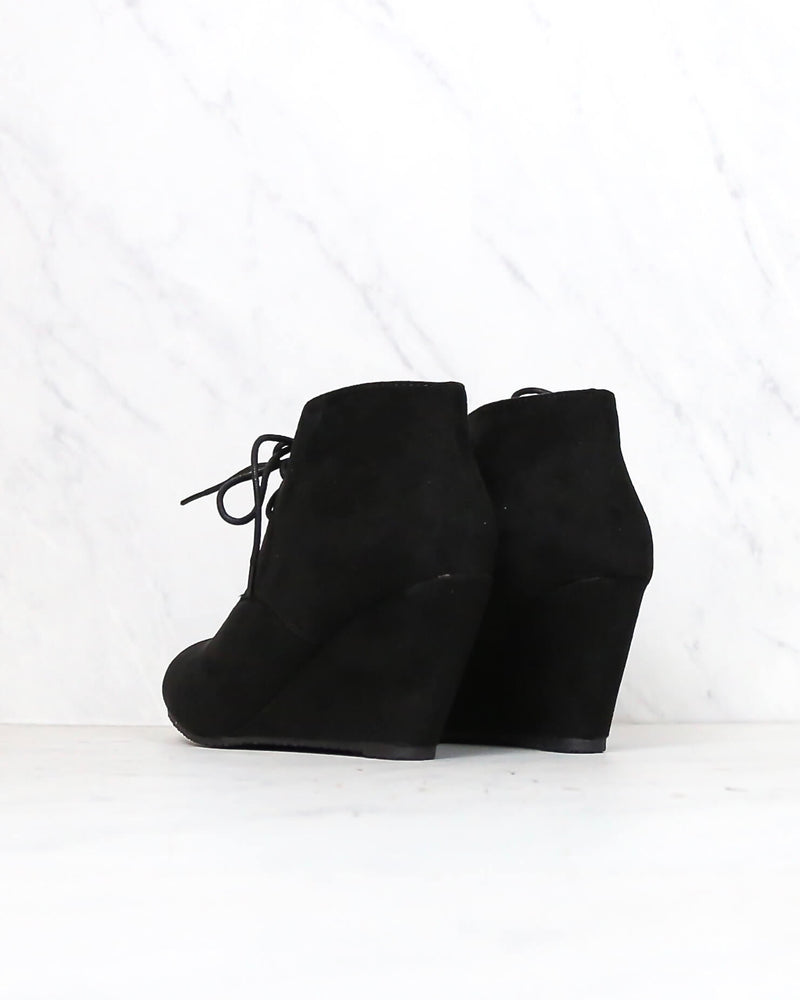 Final Sale - Black Suede Ankle Booties