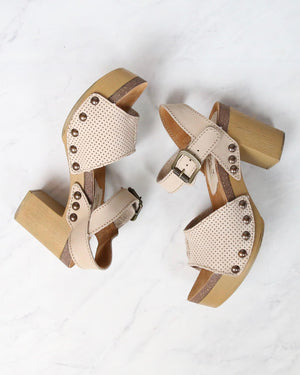 Sbicca - Tonto Perforated Heeled Sandal in Beige