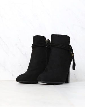 Final Sale - Vegan Suede Enchanted Tassel Detail Booties in More Colors