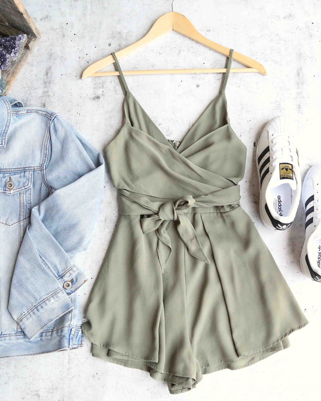 Maison Wrap Romper in Olive