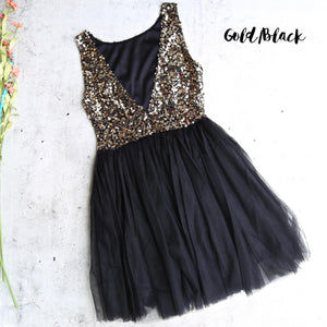 Sugar Plum Dazzling Sequin Darling Party Dress in Gold and Black