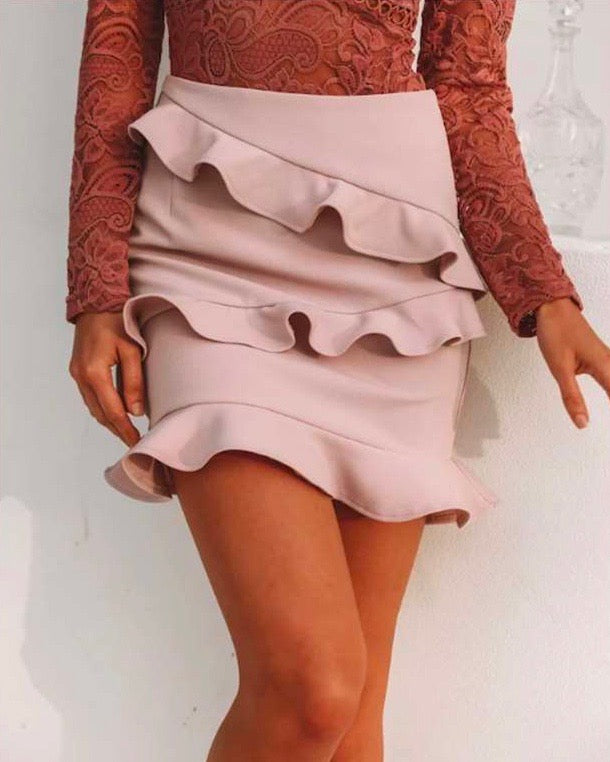 sharon ruffle bodycon mini skirt in mauve