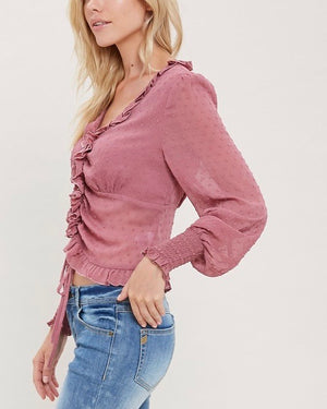 Sheer Ruffled Front Self-Tie Blouse in Mauve