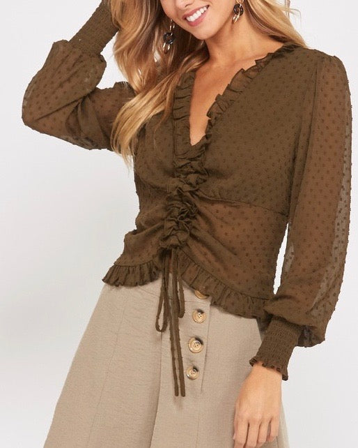 Swiss Dot Sheer Ruffled Front Self Tie Blouse in Olive