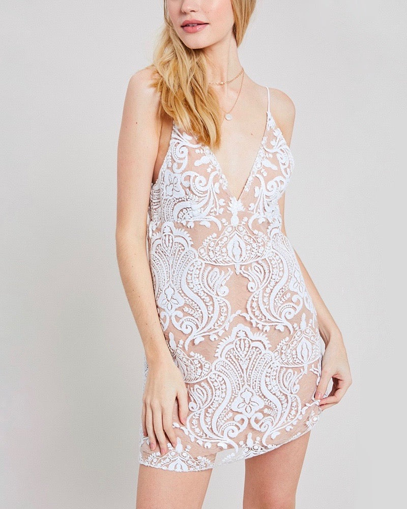 shimmer embroidery mini dress - ivory