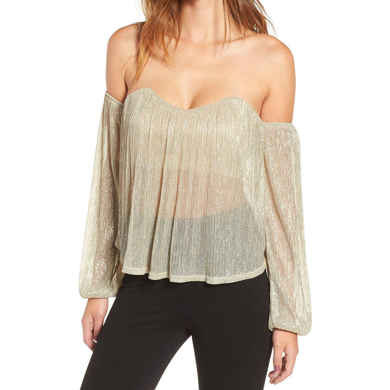 Final Sale - 4SI3NNA - shimmer and shine off the shoulder top - metallic gold