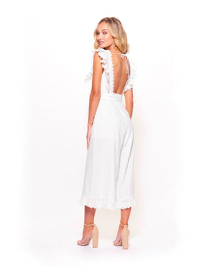 shooting for the stars woven wide leg jumpsuit with lace eyelet detail and open back in white