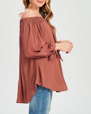 show me off the shoulder top - brick