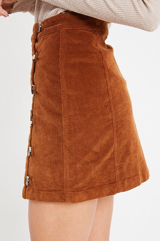 Side Button Up Corduroy Mini Skirt - Camel