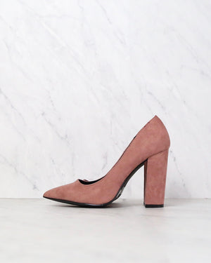 Vegan Suede Chunky Heeled Pointed Toe Pumps in Mauve