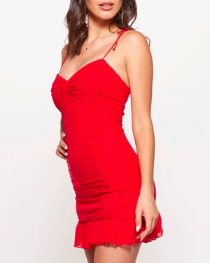 sleeveless ruffled self tie strap mini ruched bodycon dress with ruffle trim in red