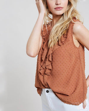 Contemporary Swiss Dot Ruffle Front Blouse Tank Top in Milk Tea