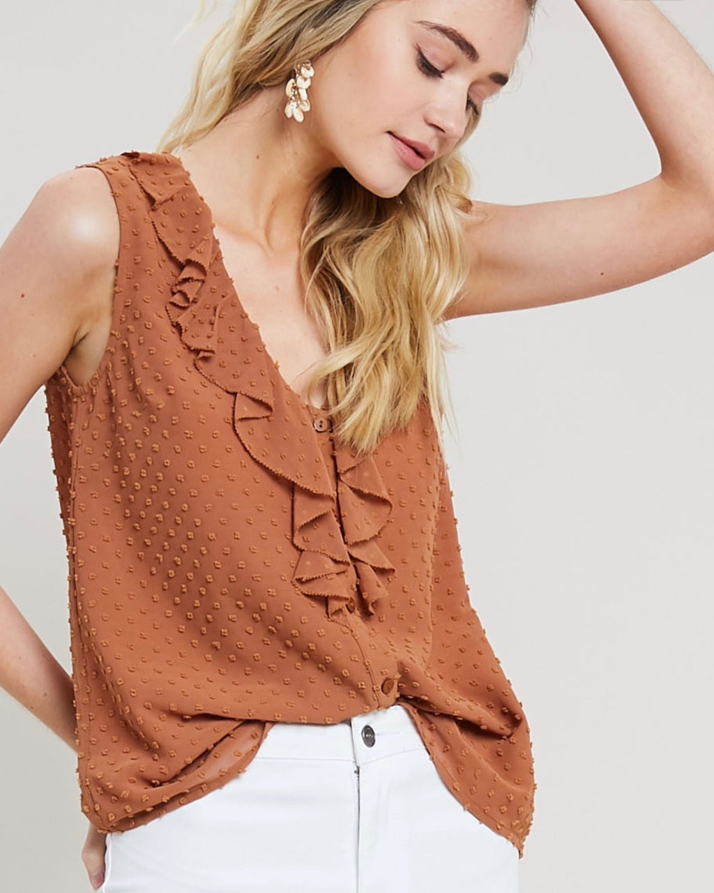 Final Sale - Contemporary Swiss Dot Ruffle Front Blouse Tank Top in Milk Tea