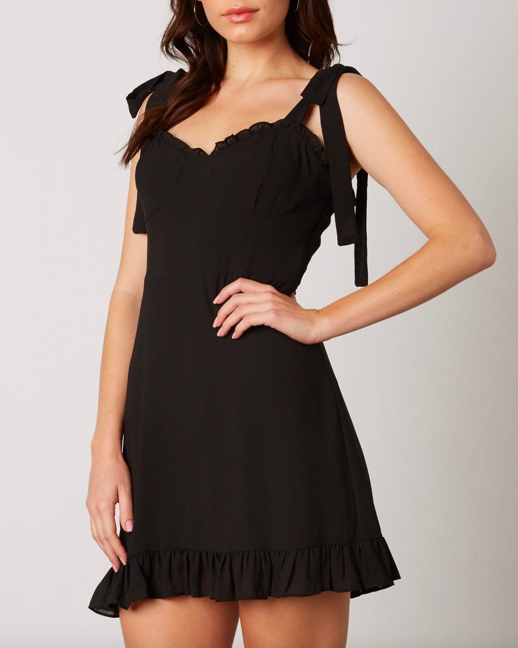 smocked chiffon bustier inspired dress with self-tie straps - black