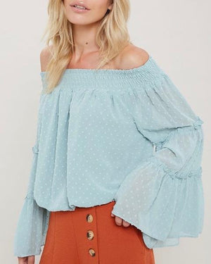 Smocked Sheer Off The Shoulder Bell Sleeved Swiss Dot Top - More Colors
