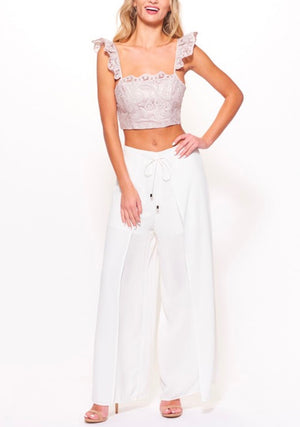 so radioactive lace crop top with flutter sleeves